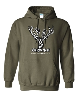 2018 HB Oktoberfest Deer Hooded Sweatshirt Military Green