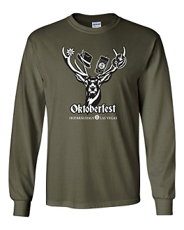 2018 HB Oktoberfest Deer Long Sleeve Tee Military Green