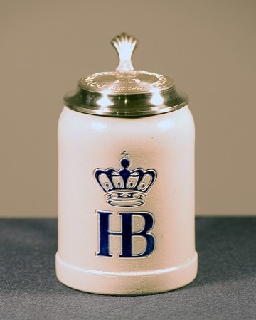 HB Salt Glazed 0.5L Stein with Pewter Lid
