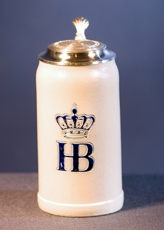 HB Salt Glazed 1.0L Stein with Pewter Lid