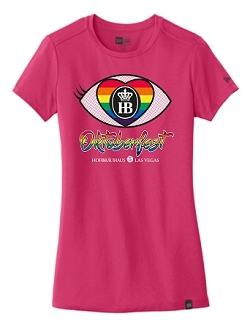 Ladies Oktoberfest 2019 Rainbow I Love HB Tee Pink