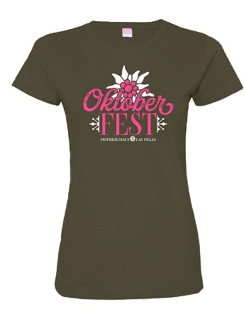 Ladies Oktoberfest 2018 Edelweiss Tee Green